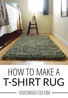 How to make a t-shirt rug tutorial Tee Shirt Rug, T Shirt Yarn, Shirt Quilt, Rag Quilt, Recycled Rugs, Recycled T Shirts, Recycled Fabric, Recycled Crafts, Rag Rug Diy