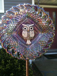 Owl garden plate stake