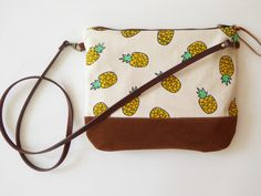 Crossbody bag Pineapple canvas,clutch purse,small crossbody,leather strap,sling bag,gift for women,teen gift