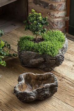 Sale Price: $37.60 Cement Burled Bark Planter - Set of 2 Oval Shaped Concrete Pots with Bark-like Detailing and sold in one large and one small