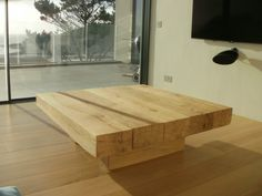 A 5 Beam Square Floating Coffee Table 1100mm