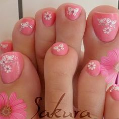 Pink Toes with White Flowers and Butterflies