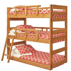 Shop for Woodcrest Heartland Triple Bunk Bed. Get free delivery On EVERYTHING* Overstock - Your Online Furniture Outlet Store! Get in rewards with Club O! Loft Bunk Beds, Bunk Beds With Stairs, Kids Bunk Beds, Trundle Beds, Bunk Rooms, Triple Bed, Triple Bunk Beds, Sharing Bed, Bunk Bed Designs