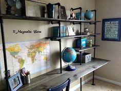 DIY Industrial Shelving & Desk {in a boy's room} | 11 Magnolia Lane
