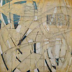 "Melinda Tidwell  - Swerve | 16x16"" book collage on panel"