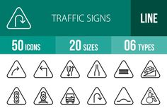 50 Traffic Signs Line Icons by IconBunny on Creative Market