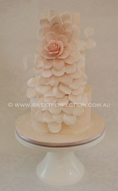 Blush/peach/pink buttercream wedding cake with expolded ombre rose. By Sweet Perfection.