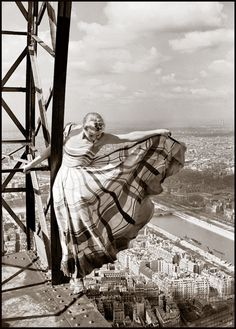 Vintage Photography: Lisa Fonssagrives on the Eiffel Tower by Erwin Blumenfeld 1939