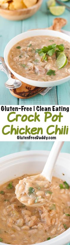 This gluten-free white chicken chili crockpot recipe is easy, flavorful and filling. I make it all the time! Bonus - it's also Clean Eating and dairy-free.