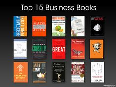 15 business books - most of which I have read. I have to blow up the photo to tell for sure!