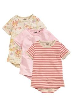 Floral Oatmeal Marl, Pink Slub And Pink Neppy Stripe T-Shirts Three Pack (3-16 yrs)