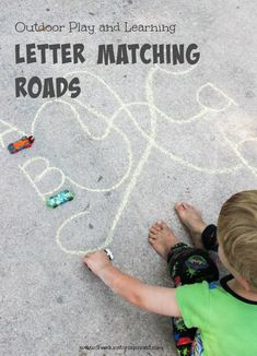 Letter matching roads: a great way to practice the alphabet outside. Teaching Letters, Learning The Alphabet, Preschool Learning, Fun Learning, Learning Activities, Activities For Kids, Learning Spanish, Outdoor Activities, Teaching Resources