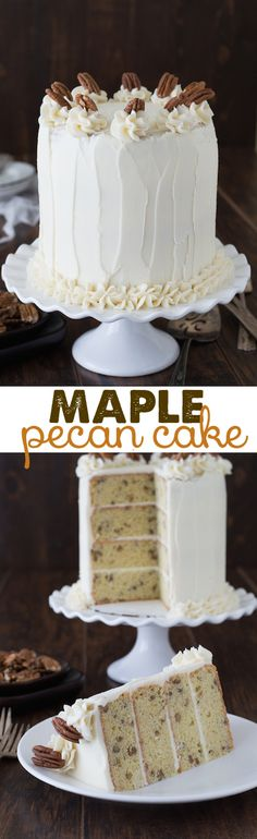 Maple Pecan Cake - 4 layer pecan cake with maple buttercream!