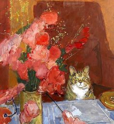 Artwork Cat and Flowers by Ruskin Spear