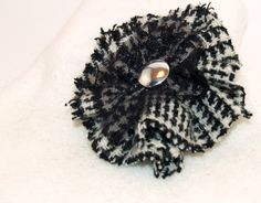 Black and White Houndstooth Harris Tweed Brooch with Black Lace and a Vintage Button