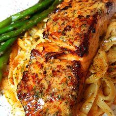 Salmon with Cajun Butter Sauce — WhipSomethingUptv Baked Salmon Recipes, Seafood Recipes, Chicken Recipes, Cooking Recipes, Healthy Recipes, Cajun Recipes, Gourmet Dinner Recipes, Louisiana Recipes, Cajun Salmon Pasta Recipe