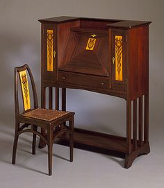 Shop of the Crafters (United States, Ohio, Cincinnati, 1904 - 1920) , Pál Horti (Hungary, 1865 - 1907) Desk and Chair, designed circa 1905, made circa 1910