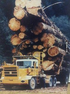 The old days of logging in Canada. Yes, this picture is real. Overload much? Big Rig Trucks, Semi Trucks, Cool Trucks, Logging Equipment, Heavy Equipment, Peterbilt, Kenworth Trucks, Heavy Machinery, The Old Days
