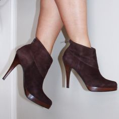 """Steve Madden brown suede Trishia ankle booties 4.5"""" heel Steve Madden Shoes Ankle Boots & Booties"""
