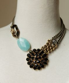 """Inspiration for a new creation -- Vintage pendant, rhinestone ball, tortise findings. Length: 17"""""""