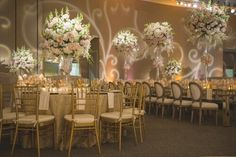An elegant wedding reception decor.