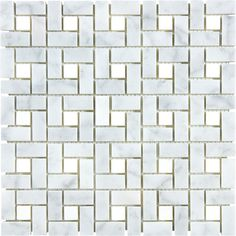 Anatolia Tile Carrara Pinwheel Basketweave Mosaic Marble Wall Tile (Common: 12-in x 12-in; Actual: 11.73-in x 11.73-in)  Item # 255604 Model # 20-657