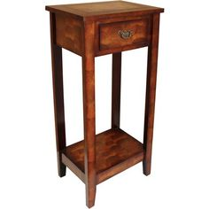 Brown Wooden 33 Inch Table with Floral Top and Drawer, Bedside or Storage - Adley & Company side table, Adley & Company, Adley & Company Inc.
