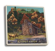 Coaster (Great Smoky Mountains National Park, Tennessee - Cades Cove & John Oliver Cabin - Lantern Press Art)