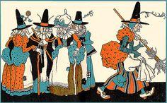 Witch Convention---Vintage Child Life Magazine Halloween Illustration