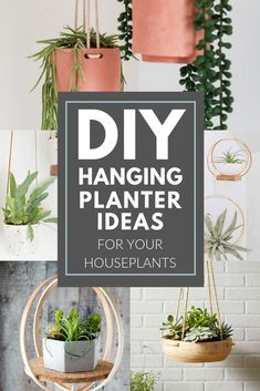 DIY Hanging Planter Ideas Make your own hanging planters with these awesome DIY tutorials Your houseplants will love hanging from these custom hanging planters Diy Hanging Planter, Diy Planter Box, Indoor Planters, Diy Planters, Garden Planters, Planter Ideas, Hanging Basket, Plants Indoor, Indoor Gardening