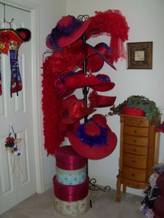 Red Hat Society - I want one of these. Funky Hats, Red Hats, Red Hat Club, Red Hat Ladies, Wearing Purple, Red Hat Society, Hat Crafts, Hat Stands, Love Hat