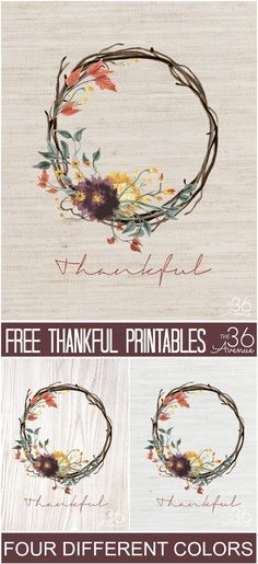 Fall DIY and Crafts - You can use this Thankful Wreath Printable to decorate your home or for gifts. It comes in four different colors! Pin it now and print it later!