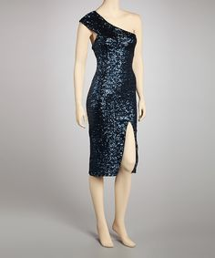 Take a look at this Prive by Allen Schwartz Blue Glitter Asymmetrical Dress - Women on zulily today!