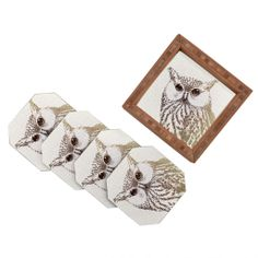 "50% OFF NOW WITH CODE ""BLACKFRI50""! #denyholiday #coaster #offer #discount #homedecor #decor #50% #blackfriday Belle13 The Intellectual Owl Coaster Set 