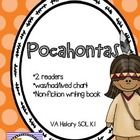 This Pocahontas Mini Unit for kindergarten or 1st grade includes- a reading group reader at two different levels a was/had/lived tree map a non-fiction writing book If you teach in VA thi...