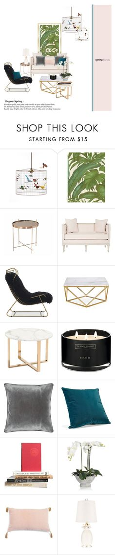 """Elegant spring"" by hadliverdemode ❤ liked on Polyvore featuring interior, interiors, interior design, home, home decor, interior decorating, Versace, Safavieh, Mitchell Gold + Bob Williams and Zuo"