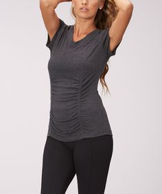 Heather Charcoal Ruched V-Neck Tee by  #zulily #zulilyfinds