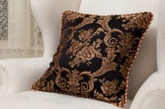 Black fabric with red and gold floral patterns Fancy Curtains, Valance Curtains, Black Pillow Cases, Swags And Tails, Black Luxury, Designer Pillow, Black Fabric, Pillow Shams, Decorative Pillows
