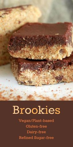Nutritionicity Recipe: Brookies (Gluten-Free, Vegan, Dairy-Free, Refined Sugar-Free) These Brookies are chocolate chip cookies with a brownie top! Packed with plant protein and awesome flavor and texture. A treat you can enjoy and feel good about. Gluten Free Sweets, Sugar Free Desserts, Sugar Free Recipes, Dessert Recipes, Cookie Recipes, Gluten Free Dairy Free Desserts, Lactose Free Cakes, Vegan Gluten Free Cookies, Sugar Free Baking