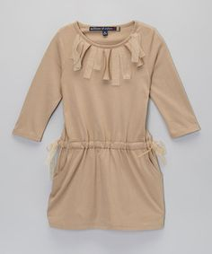 Another great find on #zulily! Millions of Colors Tan Origami Tie Dress - Girls by Millions of Colors #zulilyfinds