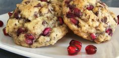 Chocolate Pomegranate Oatmeal Cookies...might try them with white chocolate and dried cranberries