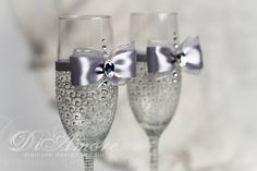 LACE silver gray  Wedding glasses / champagne flutes by DiAmoreDS, $47.00