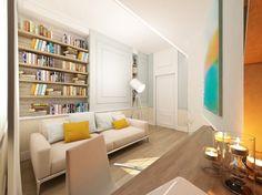 Projekt eleganckiego gabinetu w pastelowych barwach. Klasyczne wnętrze ożywiają kolorowe dodatki i ściana z surową cegłą,  http://www.tissu.com.pl/zdjecia/62