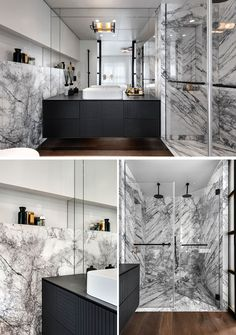 In this modern ensuite bathroom, a large mirror fills the wall, while a black vanity has a woven pattern featured on the front. Grey and white marble lines the two-person shower and the wall behind the toilet. Contemporary Cottage, Contemporary Apartment, Contemporary Bedroom, Contemporary Furniture, Contemporary Building, Contemporary Wallpaper, Contemporary Office, Contemporary Landscape, Contemporary Architecture