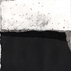 Helen Booth  Black Tide 38    Paper, Graphite, Oil, Varnish & Thread on paper.  25cm x 25cm 2011
