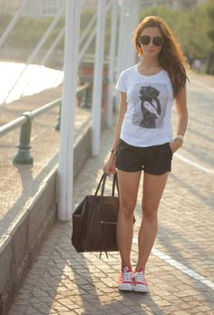 Shorts + Tee + Red Converse Shoes | Marie Zamboli