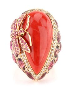 Wendy Yue Coral Ring with Sapphire Dragonfly