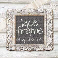 Etsy Shop Banner Set. Chalkboard. Barn Wood. Lace Ribbon. Vintage Frame. Boho Farmhouse Chic Digital Makeover Series. on Etsy, $35.00