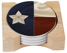 CounterArt Texas Flag Design Absorbent Coasters in Wooden Holder, Set of 4.  TEXAS!  'Nuff said.