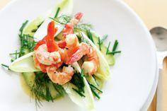 Avocado & Prawn Salad w/ Lemon & Mustard Dressing Gluten Free Chilli, Prawn Salad, 15 Minute Meals, Shellfish Recipes, Mustard Dressing, Recipe Sites, Appetisers, Dressing Recipe